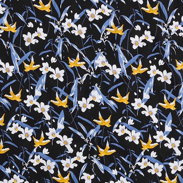 Baumwollpopeline Asiatische Blumemalerei – schwarz