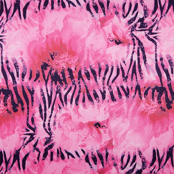 Satin stretch Flammes abstraites – rose vif/navy