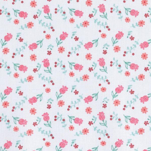 Cretonne  Petites fleurs – saumon