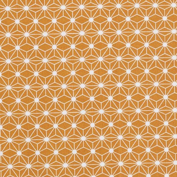 Baumwollstoff Cretonne kleine grafische Sterne – curry