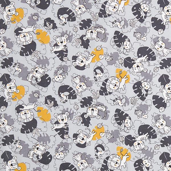 Tissu en coton Cretonne  Animaux de la jungle – gris/jaune
