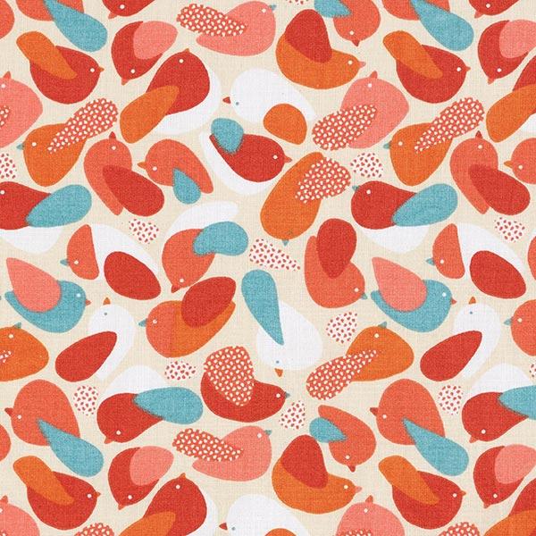 Tissu en coton Cretonne Oiseaux – rouge/vert menthe