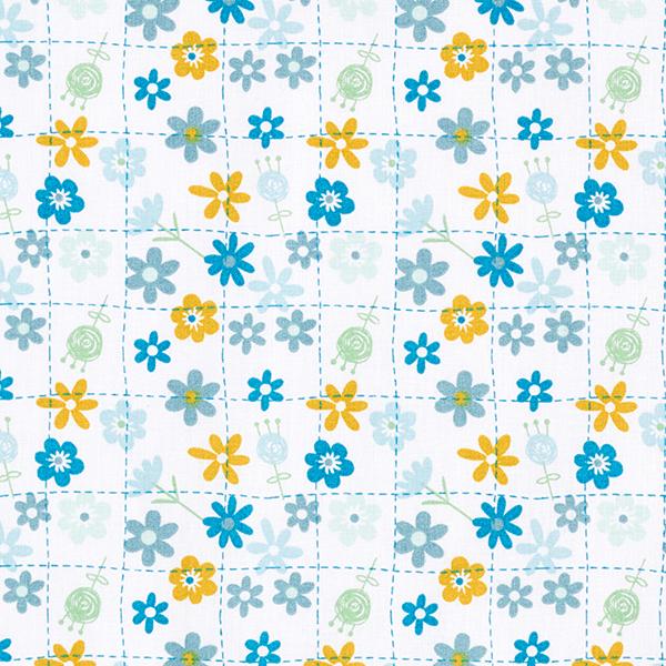 Tissu en coton Cretonne Carreaux à petites fleurs – bleu