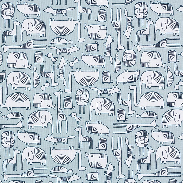 Baumwollstoff Cretonne Scandi Tiere – mintgrün
