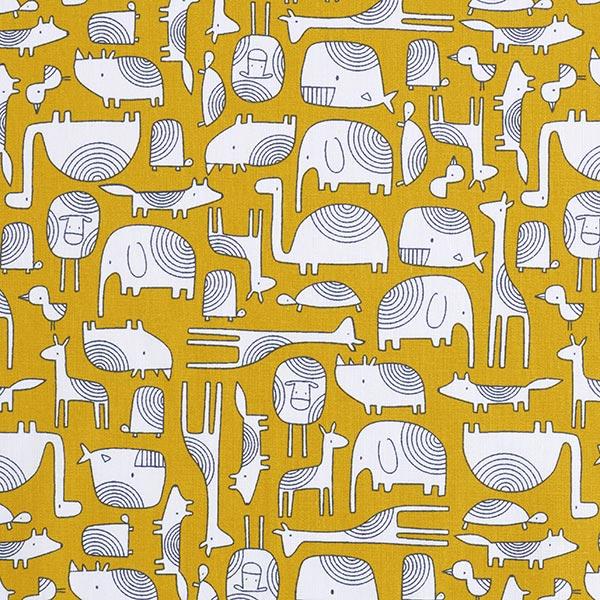 Baumwollstoff Cretonne Scandi Tiere – senf