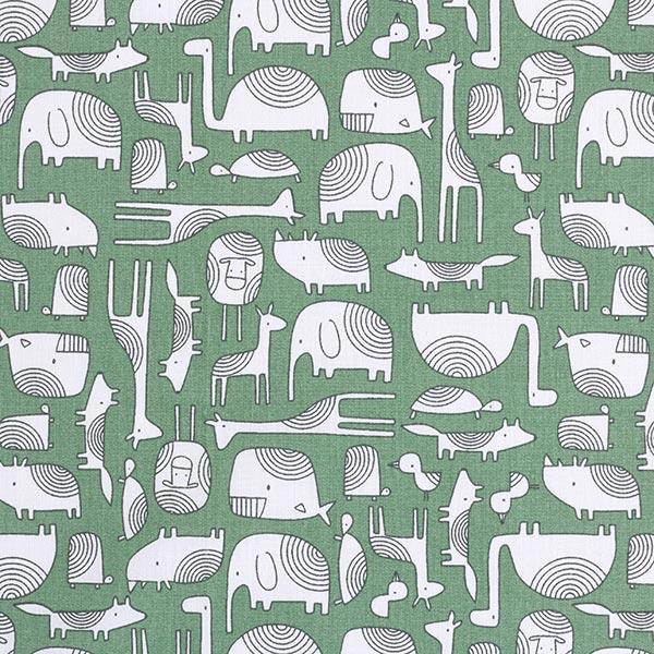 Baumwollstoff Cretonne Scandi Tiere – petrol