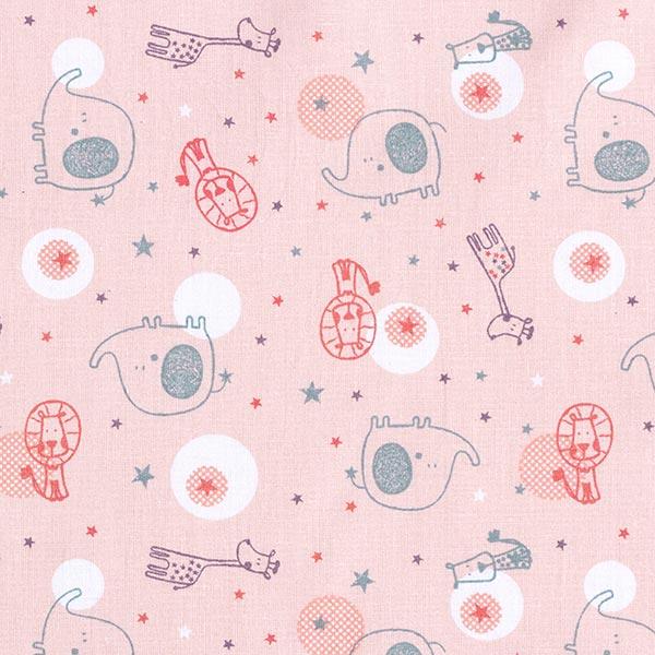 Tissu en coton Cretonne  Animaux de zoo et étoiles – rose