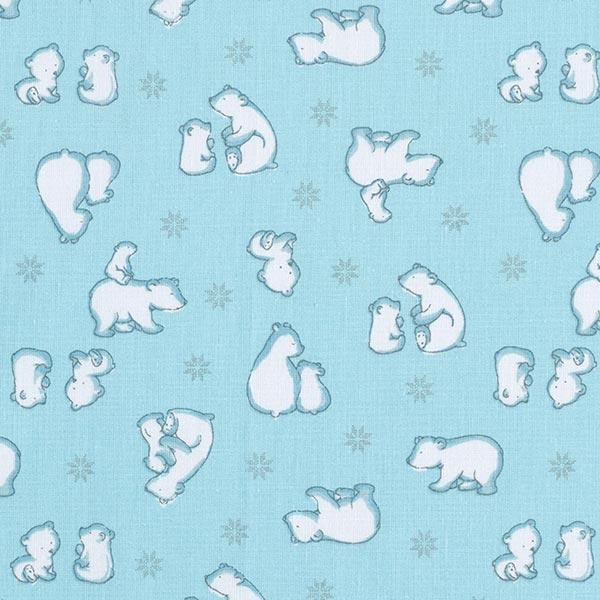 Tissu en coton Cretonne  Famille Ours polaire – bleu
