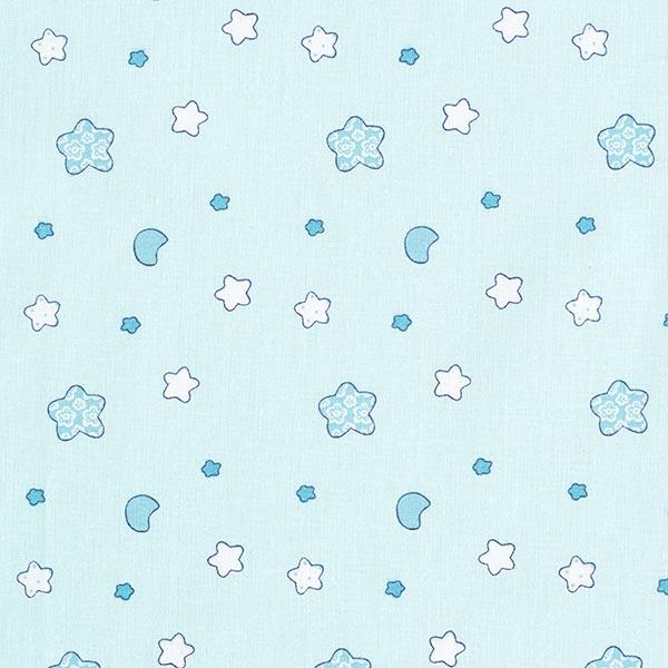 Baumwollstoff Cretonne Sternchen – grau/blau