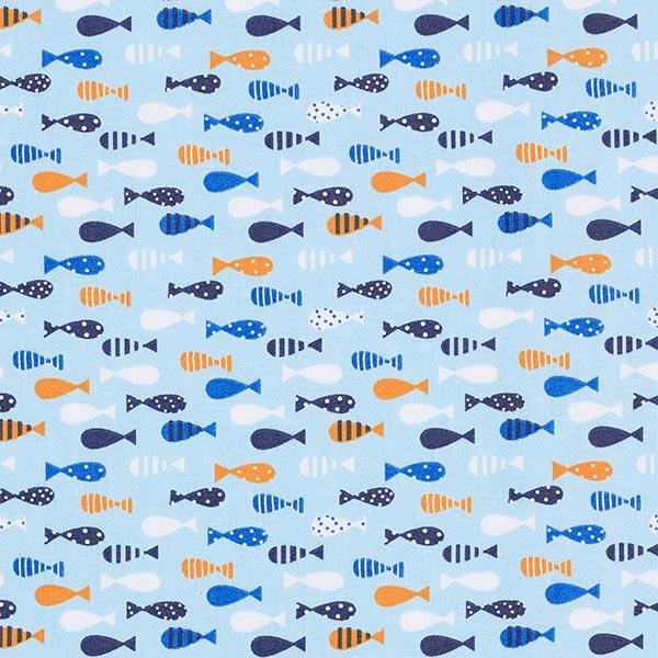 Baumwollstoff Cretonne bunter Fischschwarm – hellblau