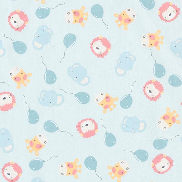 Tissu en coton Cretonne Ballons et animaux – bleu clair