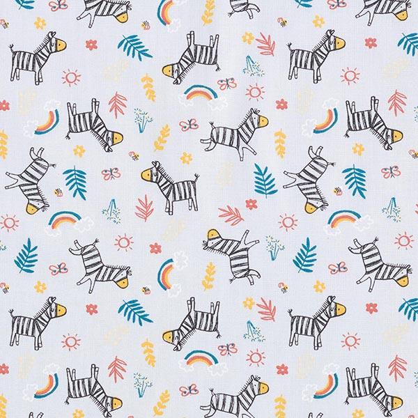Baumwollstoff Cretonne neugieriges Zebra – grau