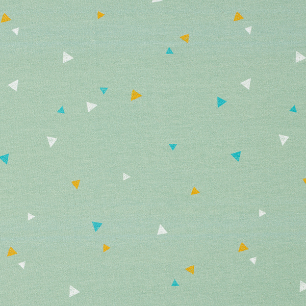 Jersey coton Tula Triangles aspect impression au tampon GOTS – vert menthe