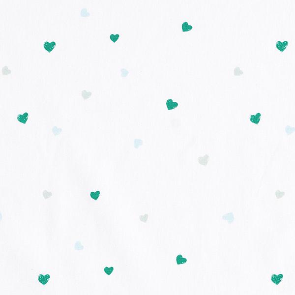 Tula popeline coton aspect griffonnage cœurs GOTS – blanc
