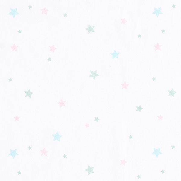 Tula popeline coton aspect griffonnage étoiles GOTS – blanc
