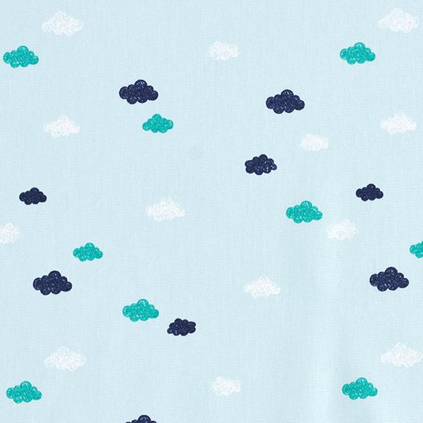 Tula Baumwollpopeline Skribbel-Optik Wolken GOTS – hellblau