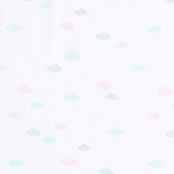 Tula popeline coton aspect griffonnage nuages GOTS – blanc
