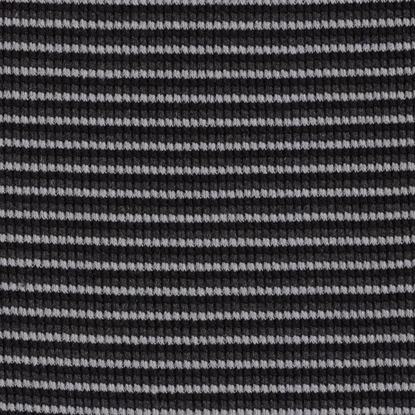 Tissu maille double côte rayures – gris