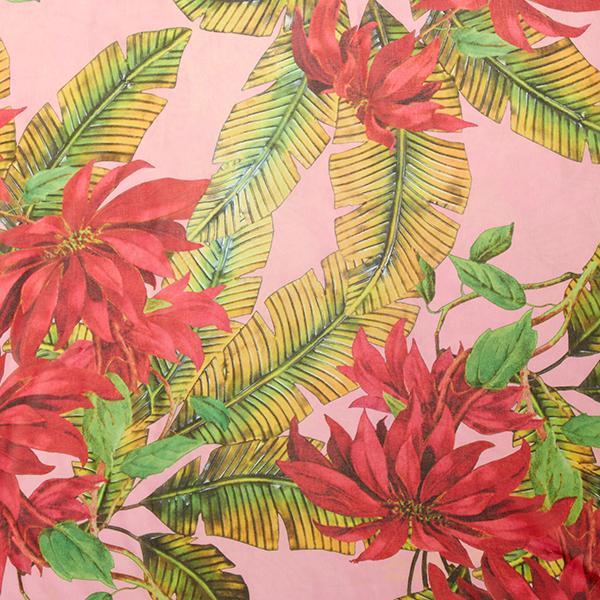 Georgette Feuilles de bananier tropicales – rose vif/vert
