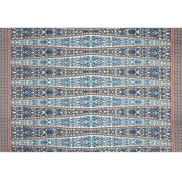 Tissu bordure Ornements gothiques – bleu marine/beige