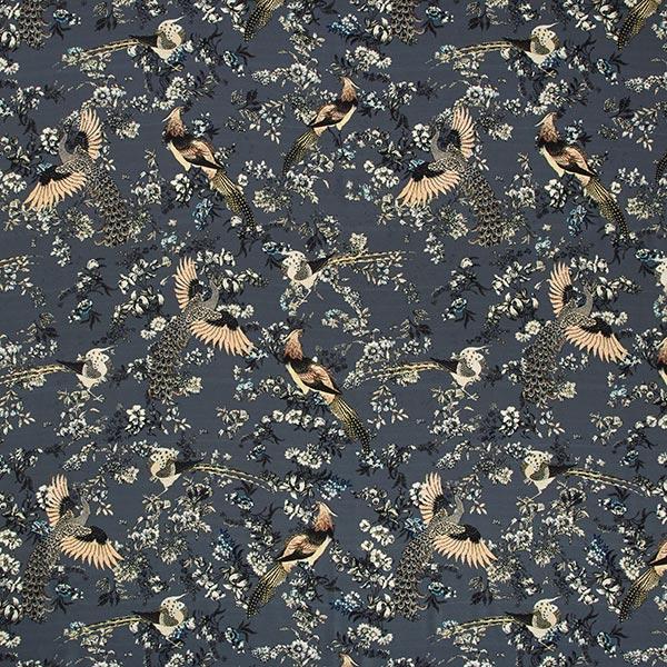 Blusenstoff Pfau im Blumenrausch – schiefergrau