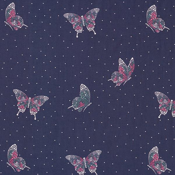 Blusenstoff Voile exzentrischer Schmetterling – marineblau