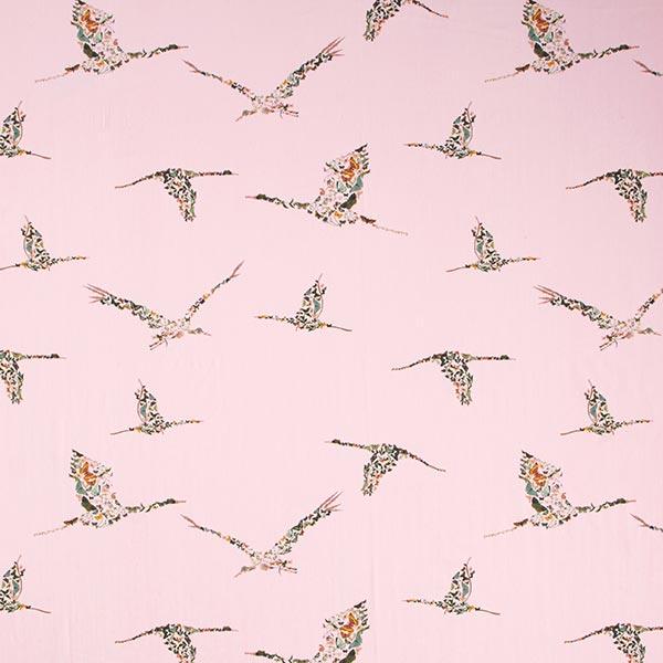 Blusenstoff Voile Kranich aus Schmetterlingen – rosa