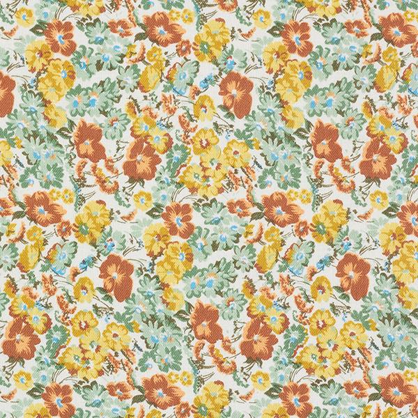 Twill Massif de fleurs – terre cuite/moutarde