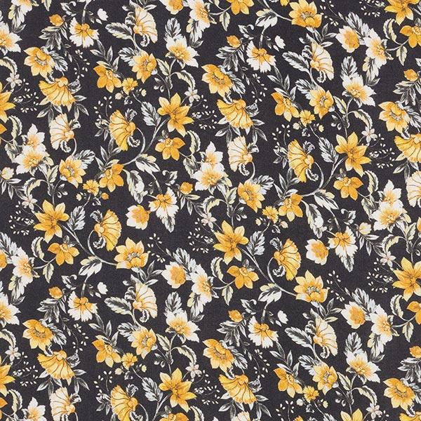 Elégant tissu pour chemisier Viscose Rinceaux de fleurs – noir/jaune