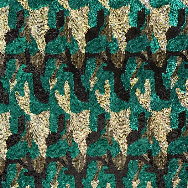 Paillettenjersey Camouflage – grün/bronze