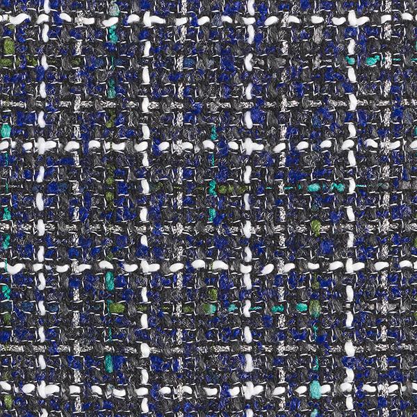 Bouclé Stoff Lurex Cecilie – königsblau/grau