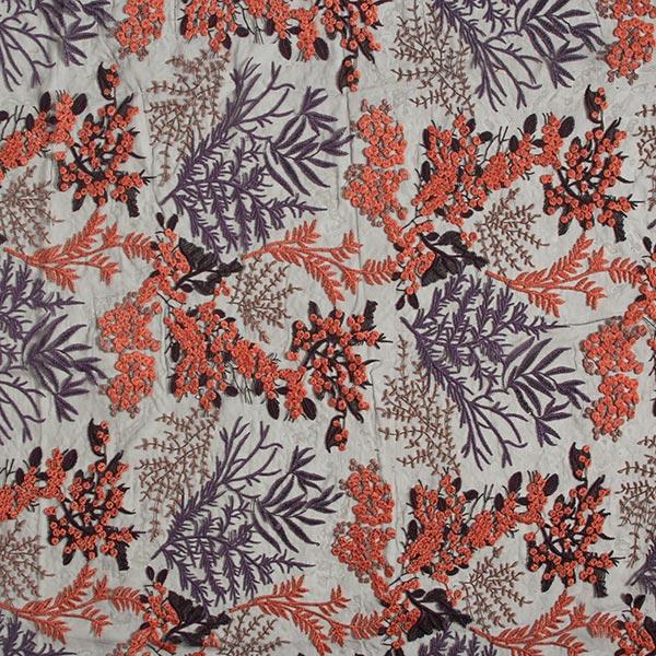 Softmesh Feuilles et fleurs – prune/terre cuite