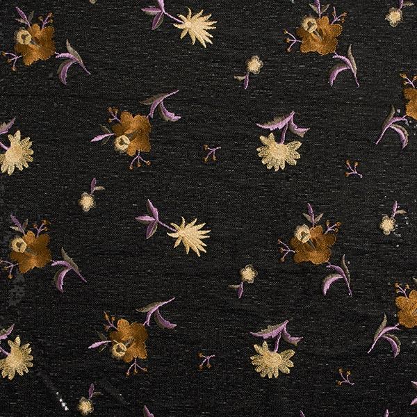 Paillettenstoff Blumenstickerei – braun/flieder