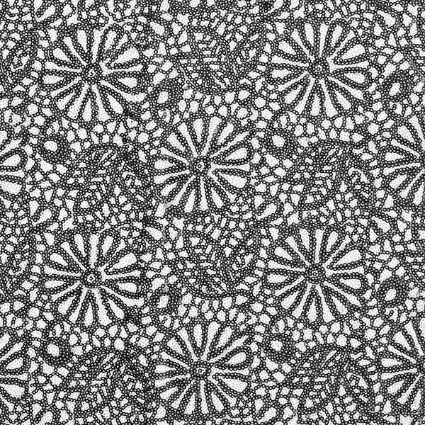 Softmesh Broderie à paillettes Fleurs ornementales – blanc/noir
