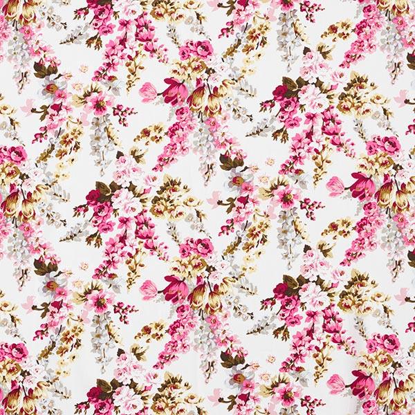 Popeline coton Bouquet de roses – blanc/rose vif