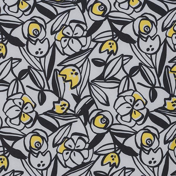Softshell Gemalte Blumen – hellgrau/gelb
