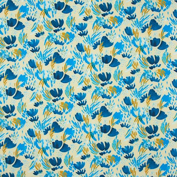 Softshell Abstrakte Aquarellblumen – hellbeige/türkisblau
