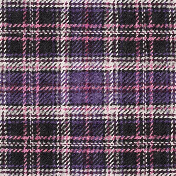 Mantelstoff Woll-Mix Karo-Muster – schwarz/rosa