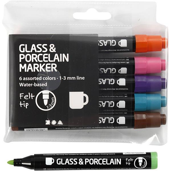 Glas- und Porzellanmalstifte halbdeckend [ 6Stück ]