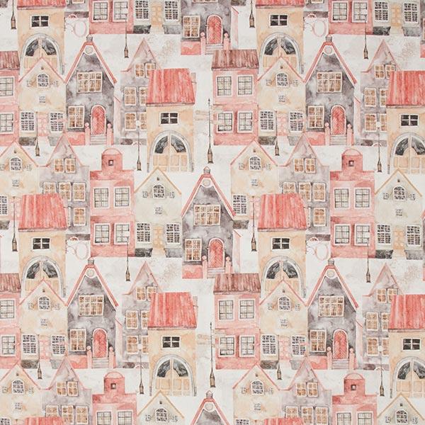 Tissu de décoration mi-panama Village d'hiver – rouge