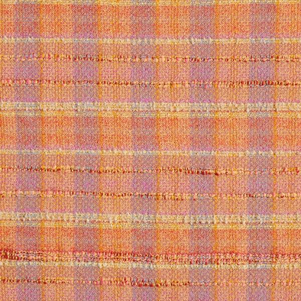 Tissu pour manteau Mélange laine vierge Bouclé Carreaux multicolores – orange