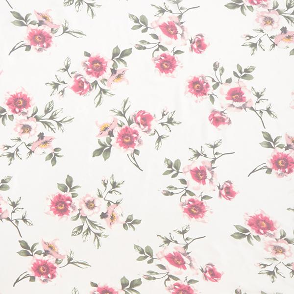 Mousseline de soie Roses – blanc