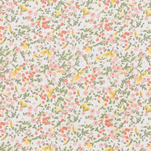 Mousseline de soie Fleurs éparses – blanc
