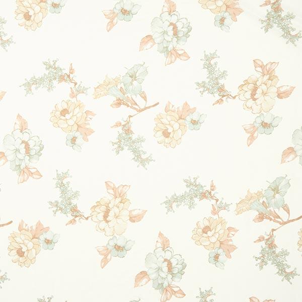 Soie et coton mélangés Motif floral léger – blanc