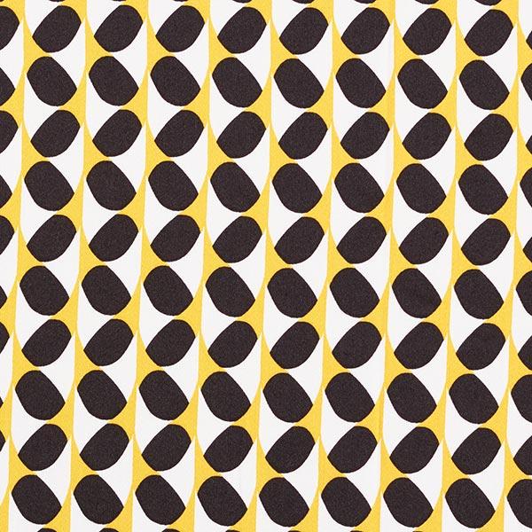 Satin de coton Grand motif rétro – jaune/noir