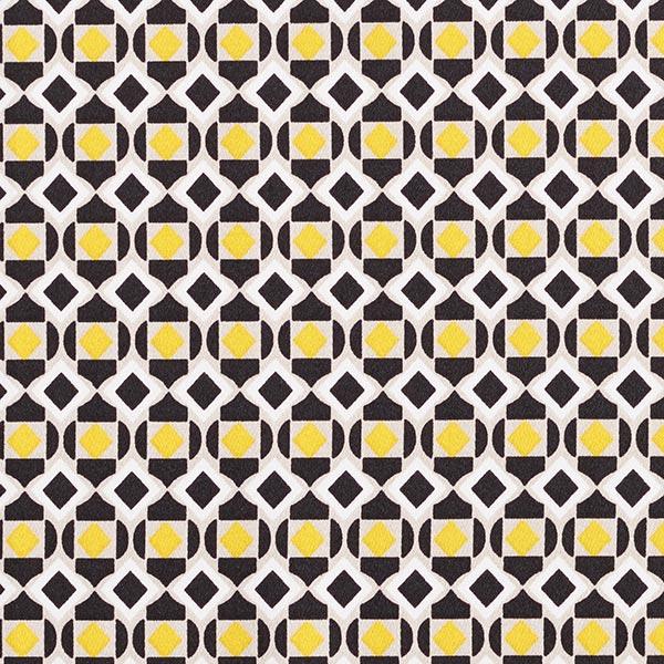 Baumwollsatin Retro-Rautenmuster – gelb/schwarz