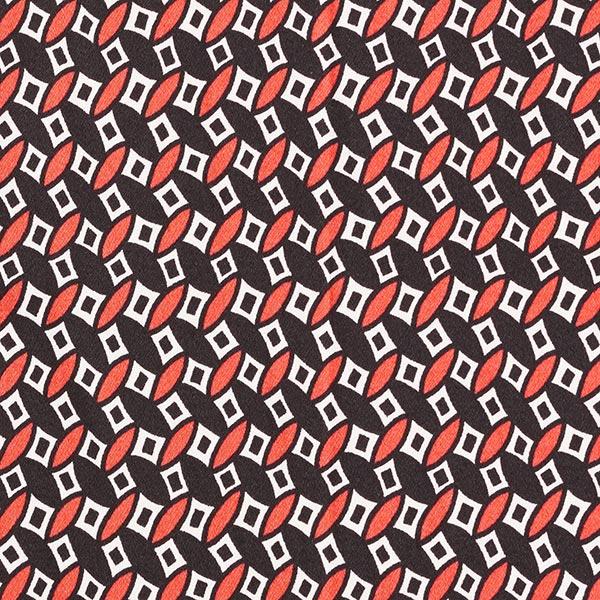 Satin de coton Petit motif rétro – noir/homard