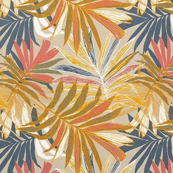 Tissu de décoration Canvas Feuilles de jungle 280cm – sable/chili