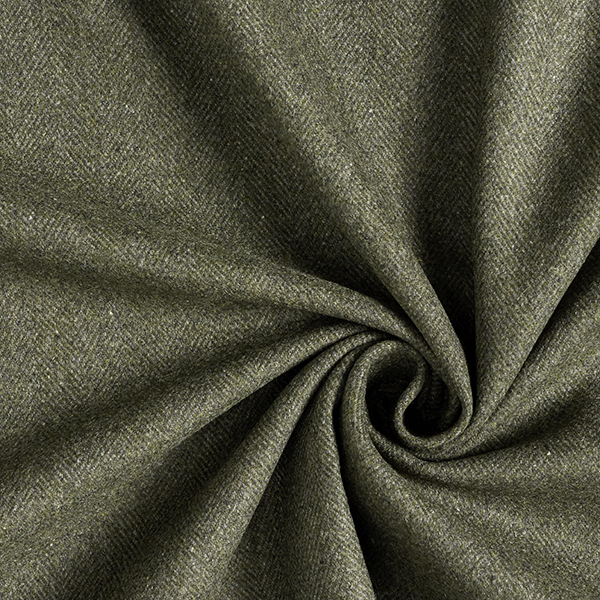 Tissu pour manteau avec laine recyclée motif chevron – olive/olive foncé