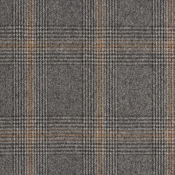 Tissu pour manteau avec laine recyclée Prince-de-Galles – anthracite/marron